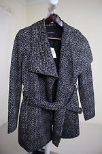 Banana Republic Rayon Blend Black & White Lined Belted Peacoat Size - 4