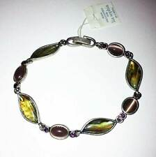 Lia Sophia Awash Bracelet in Silver and Multicolor Abalone with Tigers Eye Links