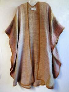 MANO del Uruguay Virgin Wool Huella Ruana Shawl Poncho Multi-Color w/ Brown Trim