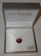 """Purple Heart Swarovski Necklace Crystal 18mm Silver Plated New in Gift Box 17"""""""