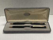 Vtg Nos Zippo Writing Instruments Black Color Pen - Blue Ink & Lead Pencil Set