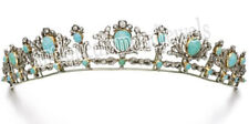 8.80cts ROSE CUT DIAMOND TURQUOISE ANTIQUE VICTORIAN LOOK 925 SILVER TIARA