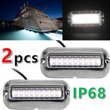 2PCS White Stainless Steel 27LED Underwater Pontoon Marine/Boat Transom Light