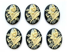 6 IVORY color LILY of the VALLEY Flower on BLACK 40mm x 30mm CAMEOS for Crafts