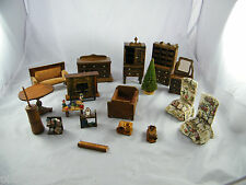 LOT OF VINTAGE ~ WOOD DOLLHOUSE FURNITURE ~ SOME MAY BE HOMEMADE
