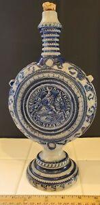 German Westerwald Salt Glaze Stoneware Pilgrim Flask w/ Knight's Seal, Ulrich I