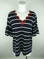 Hannah Women's sz L Blue Striped Embroidered 3/4 Bell Sleeve Blouse Top