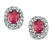 Stud Ruby White Gold Fine Earrings