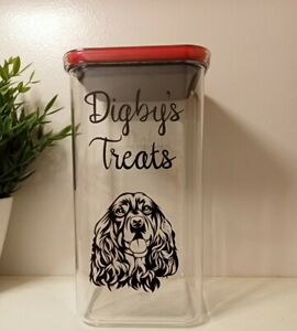 ♡ Dog/Cat Treat Biscuits Airtight Storage Personalised 2.1 litres ♡