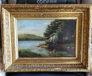 ANTIQUE 19TH CENTURY OIL ON CANVAS COW DRINKING WATER AT A STREAM LANDSCAPE