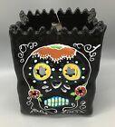Blue Sky Sugar Skull Luminary Bag Black Halloween Tealight Candle Holder NEW