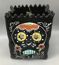 Blue Sky Sugar Skull Luminary Bag Black Halloween Tealight Candle Holder NEW