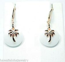 Round Disc White Ceramic Rose Gold On 925 Silver Hawaiian Palmtree Hook Earrings