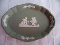 WEDGWOOD JASPER WARE SAGE GREEN WHITE JASPERWARE OVAL PIN DISH TRAY
