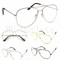 New Clear Lens Aviator Sunglasses Retro Vintage Style Metal Frame