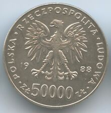 GS653 - Poland 50.000 Zlotych 1988 Y#180 Silver Józef Piłsudski Independenc