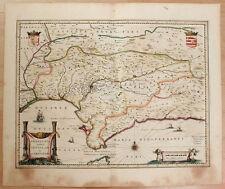 Carte c1650 JANSSONIUS folio map couleurs ANDALOUSIE Andalucia Séville Cordoue 6
