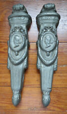 PAIR ANTIQUE ARCHITECTURAL WALL SCONCES FIREPLACE HISTORIC MOLDING 19th C