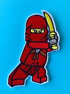 LEGO RED NINJAGO NINJA BLOCKS CHARACTER  EMBROIDERED APPLIQUÉ PATCH SEW IRON ON