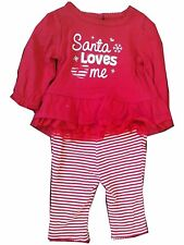 Santa Loves Me Infant Girl 2pc Outfit, Long Sleeve Christmas Set 3-6 Mth - NWT