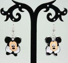 Disney Mickey Mouse Esmaltado dejar pendientes, plateado ganchos-Bonito Regalo!