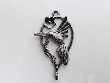 2 x Black Plated Brass Hummingbird Bird Pendants Charms 36mm x 20mm Lead Free