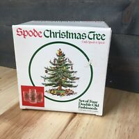 Set of 4 SPODE Christmas Tree Design Double Old Fashioneds 14 OZ Glasses in Box