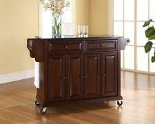 Crosley Solid Black Granite Top Kitchen Cart/Island Mahogany - KF30004EMA
