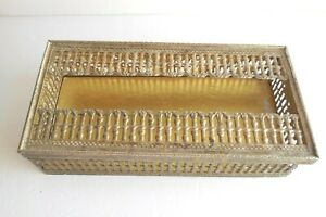 Vintage Two-Part Antique Gold-Colored Metal Filigree Tissue Kleenex Box Cover