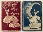 Pair of Vintage Swap/Playing Cards - LOVELY DANCING LADIES - Mint Cond