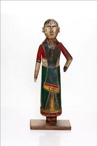 Antique Wood Carved Painted Lady Statue Hindu God Gavar Gangor Figurine