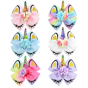 Infant Kids Girls Cute Unicorn Rainbow Hair Clip Bowknot Child Girl Headwear