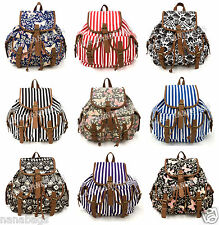 New Canvas Butterfly Aztec Strip Flower Rucksack Backpack School College A4 bag