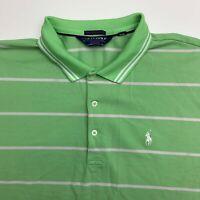 Polo Golf Performance Polo Shirt Mens XXL Green Stripe Short Sleeve Casual