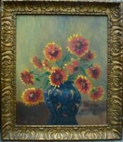 Antique Flowers Still life old oil board painting Gold Framed frame Vintage Art