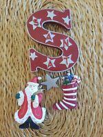 """Adorable Vintage """"S"""" Santa Claus Christmas Ornament Large 6"""" 3D Detailed"""