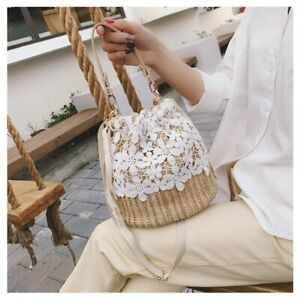 Women Woven Bucket Bags Lace Straw Drawstring Boho Ethnic Style Beach Rattan Bag
