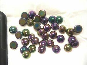 Full package,36 preciosa round smooth  glass cabascons,15mm purple iridescent