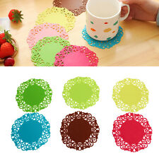 6 Pcs Cute Silicone Hollow Flower-shaped Round Drink Tea Coasters Lace Plaid Mat