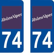 Département 74 sticker 2 autocollants style immatriculation AUTO PLAQUE