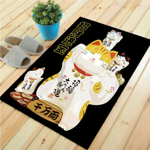 Lucky Cat Doormat Floor Mat Non-Slip Carpet Rug Velvet Cartoon Printed Style Mat