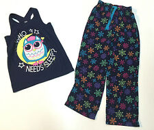 Justice Girl Pajama Set Long Velour Pants & Tank Top Size 8-10
