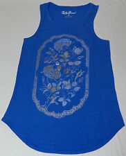 NWT Lucky Brand Blue Foil Embellished Graphic Racerback Tank Top  Large   L2050