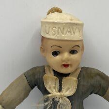 Vintage 1940s Japan Celluloid Cloth US Navy Sailor Boy Doll Ornament
