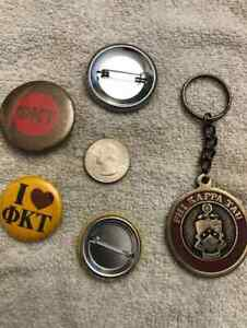 Phi Kappa Tau Medallion Key Chain Ring w/ 2 Buttons NOS VINTAGE RETIRED