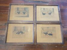 4 Vintage Cockfighting Prints Drawn and Engraved by CR Stock Published WC Lee