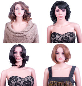 Ladies Forever Young Short Wavy Curly Brown Black Blonde Red Auburn UK Wigs