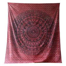 Couverture indienne Tenture Paisley Éléphants rouge noir 230x210cm Tie Dye