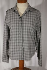 J BRAND Women's Size M Medium Gray Plaid Long-Sleeve Cotton Button-Down Shirt