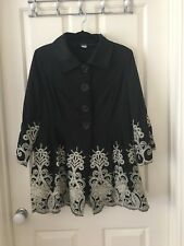 Bellina 'Opera' Coat Black With Ivory Embroidery  Size 18